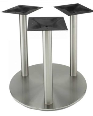 3 column 30in round stainless steel base at dining height