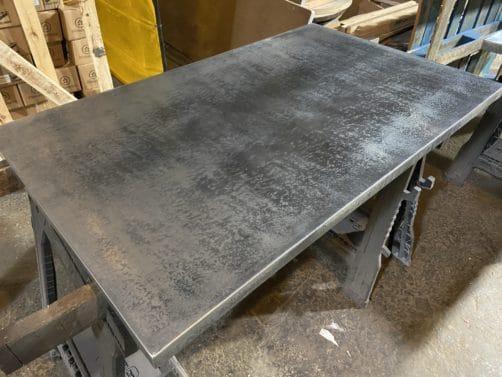 patina zinc table top - dark uniform finish, rolled