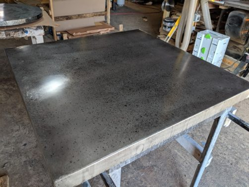 patina zinc table top - misted finish