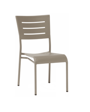 champagne aluminum stacking chair without arms