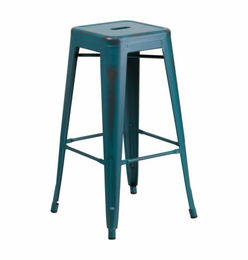 kelly blue distressed metal bar stool
