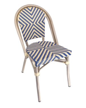 outdoor blue chevron bistro chair