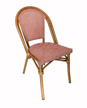 outdoor red and cream bistro chair